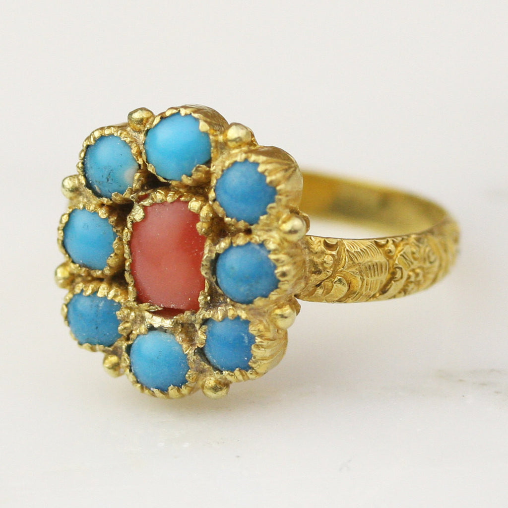 Georgian 20k Yellow Gold Turquoise and Coral Halo Ring