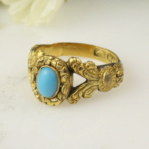 Georgian 18k Yellow Gold Turquoise Chased Ring