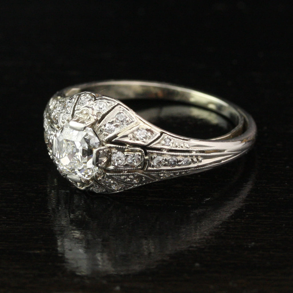 Edwardian 1.03 Carat Asscher Cut Diamond Engagement Ring in Platinum