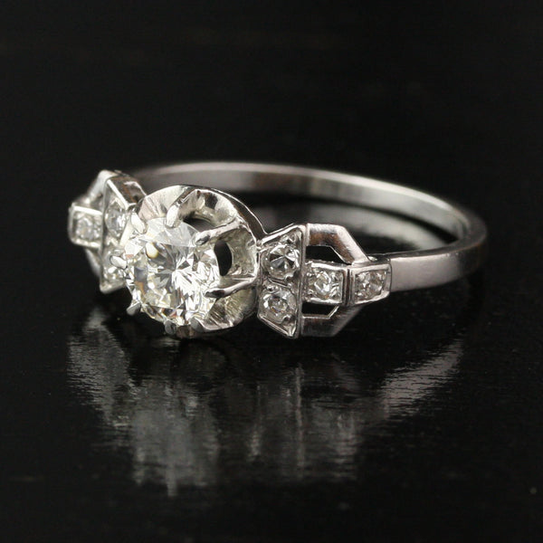 Art Deco French .78 Carat VVS1 Diamond Engagement Ring in Platinum