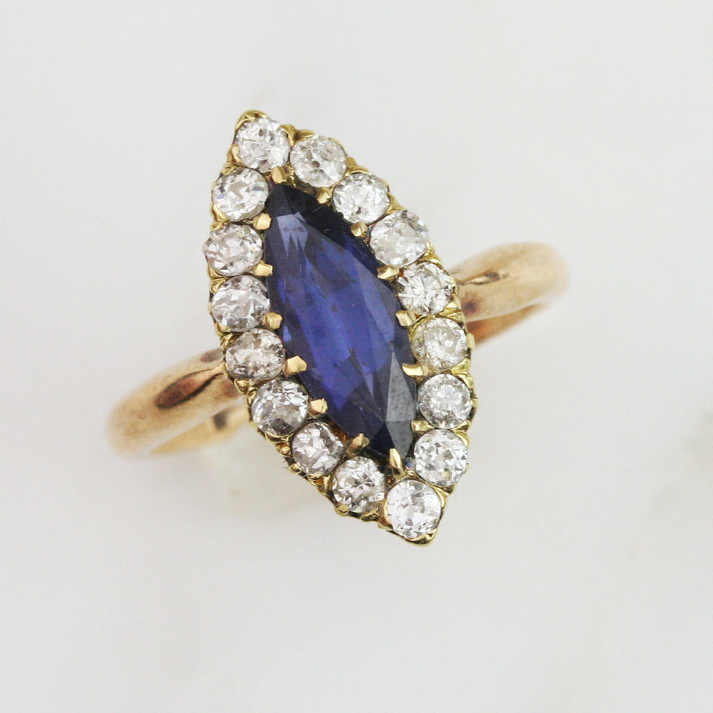 Victorian French 2.2 Carat Sapphire and Diamond Halo Engagement Ring