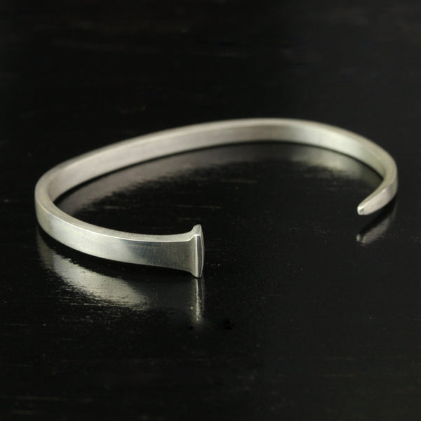 Womens Forged Sterling Silver Antique Square Nail Cuff Bracelet Handmade
