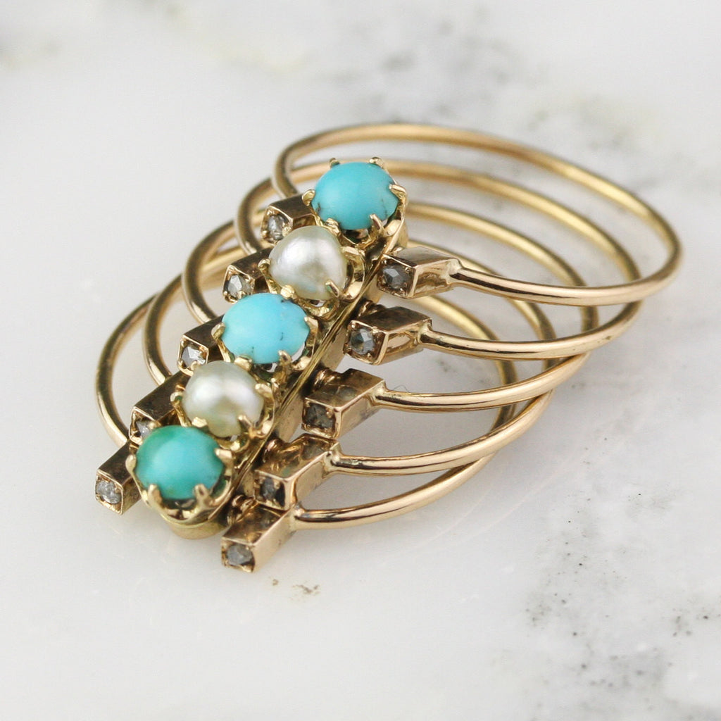 Victorian Stacking Hinged Pearl Turquoise and Diamond Ring in 18k Rose Gold