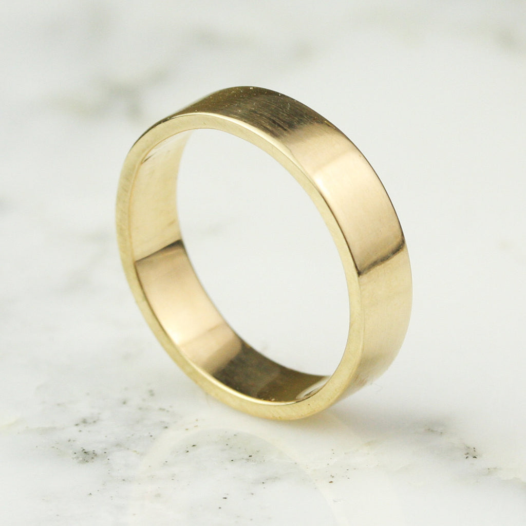 5mm Wide Flat Edge Wedding Band - 14k