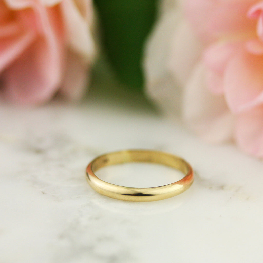 2.5 mm Half Round Wedding Band - 14k