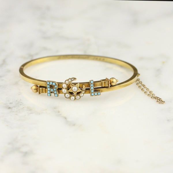Victorian 14k Gold Pearl and Turquoise Initial Cuff Bracelet - RCL / RLC / CRL / CLR / RL / LR