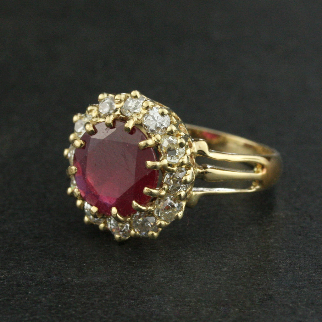Victorian 2.50 Carat Ruby and Diamond Halo Engagement Ring