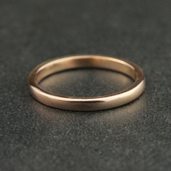 2mm Traditional Flat Sided Domed Wedding Band - 22k