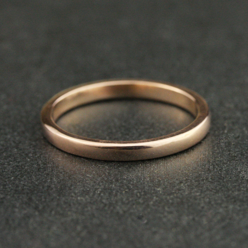 2mm Traditional Flat Sided Domed Wedding Band - 24k