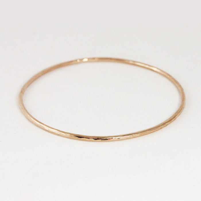 Hammered 2mm Rose Gold Bangle Bracelet - 14k or 18k