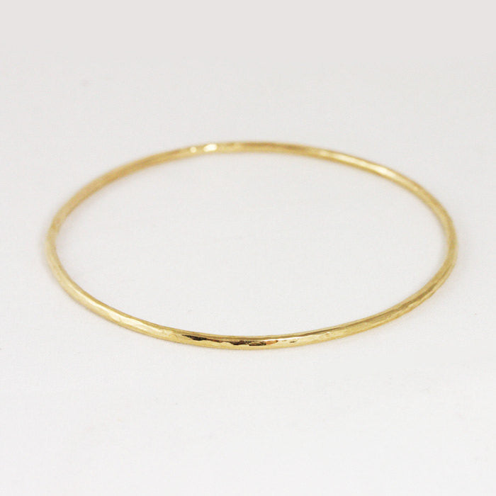 Hammered 2mm Yellow Gold Bangle Bracelet - 14k or 18k
