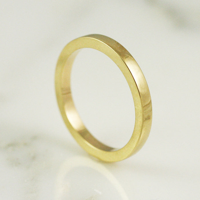 2.5mm Heavy Flat Edge Wedding Band - 24k