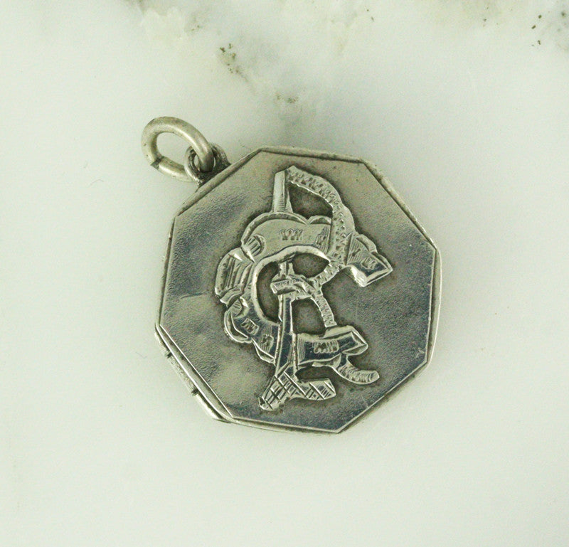 1876 Victorian Silver RC CR Locket - Equestrian Themed