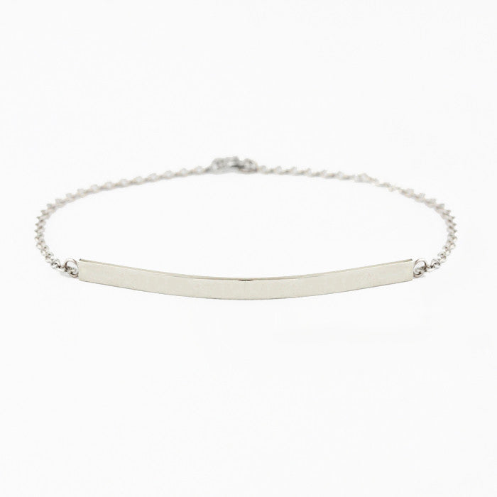 Personalized 14k White Gold Bar Bracelet
