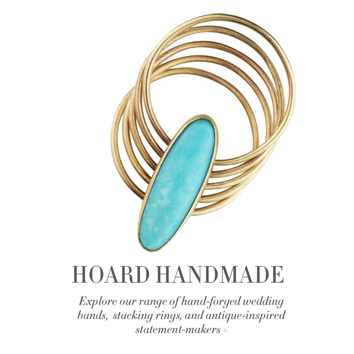 Hoard Handmade stacking gold rings, hinged antique style rings, and custom wedding bands