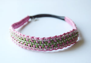 Brooke Pink and Apple Green Headband - Rose Gonzales