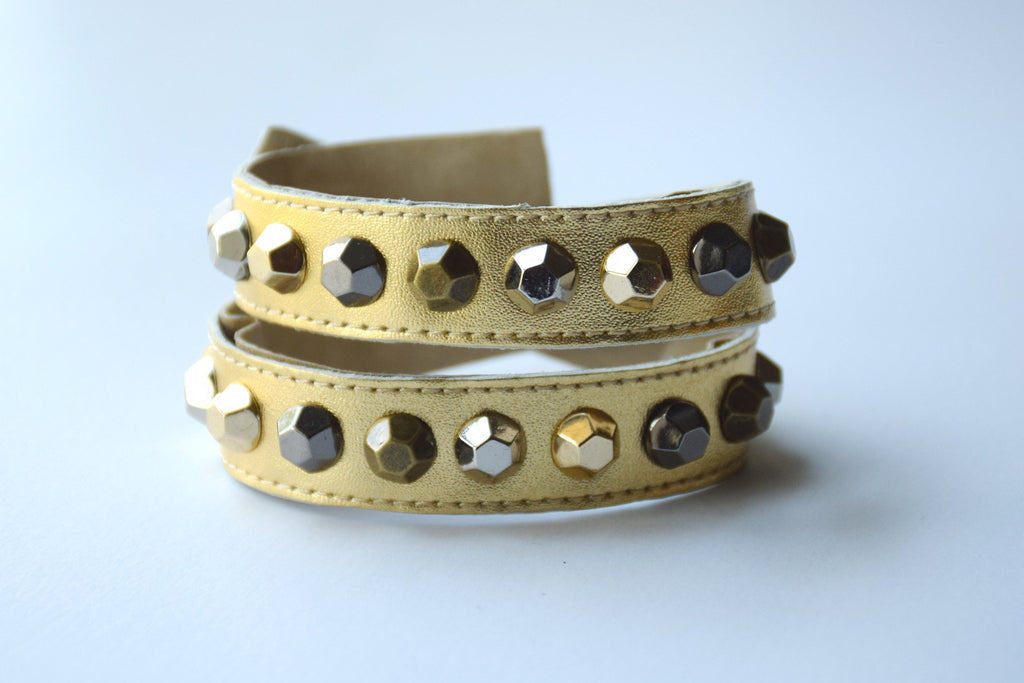 Colette Gold Leather Bracelet