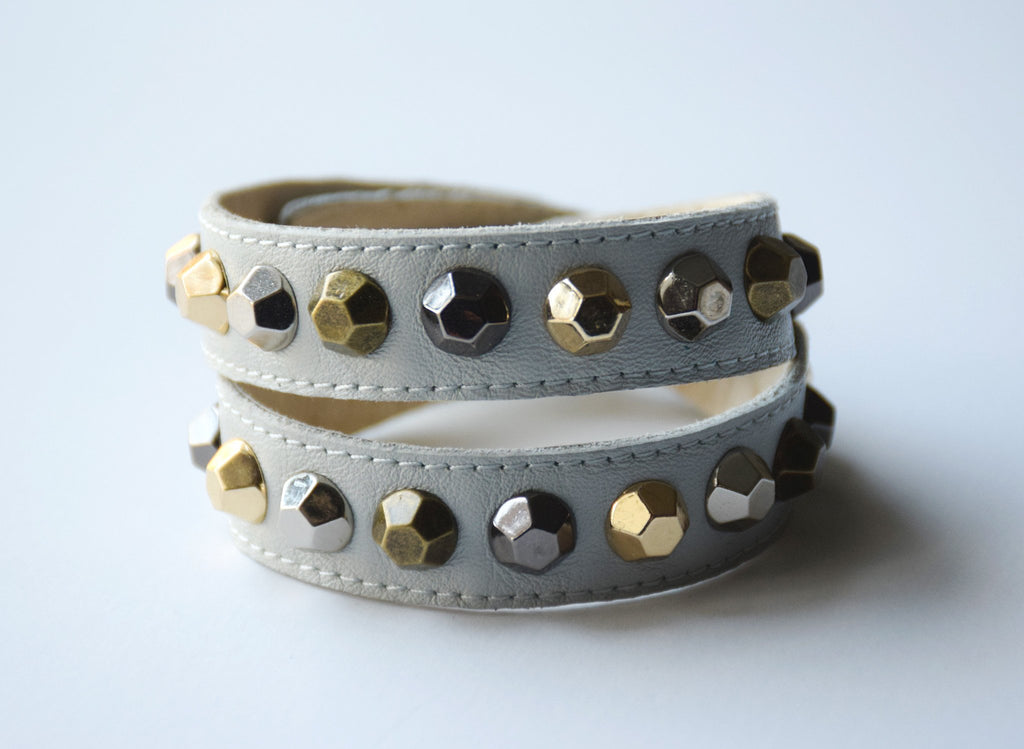Colette Light Gray Leather Bracelet - Rose Gonzales