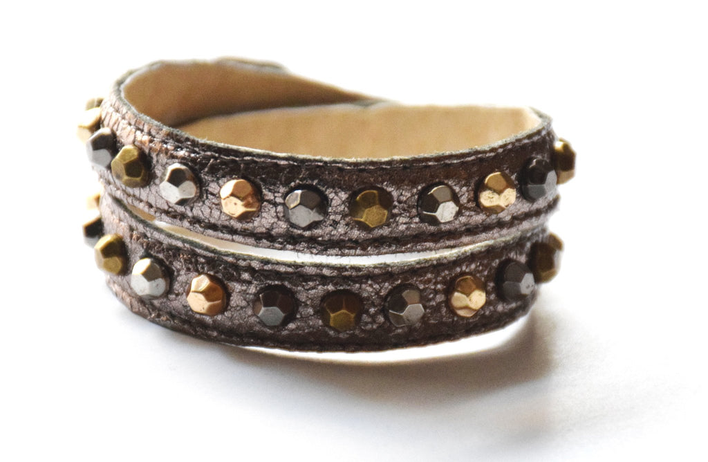 Nadine Bronze Leather Bracelet - Rose Gonzales