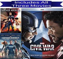 Captain America DVD Trilogy 1-3 Movie Collection Marvel Comics DVDs & Blu-ray Discs > DVDs