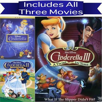 Walt Disney's Cinderella Trilogy DVD Set 3 Movie Collection Walt Disney DVDs & Blu-ray Discs > DVDs