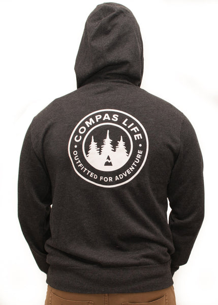 Men's Outfitted Zip Up Hoodie Charcoal