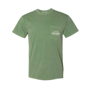 Upstate of Mind Mountain Range Pocket Tee - Mossy Green