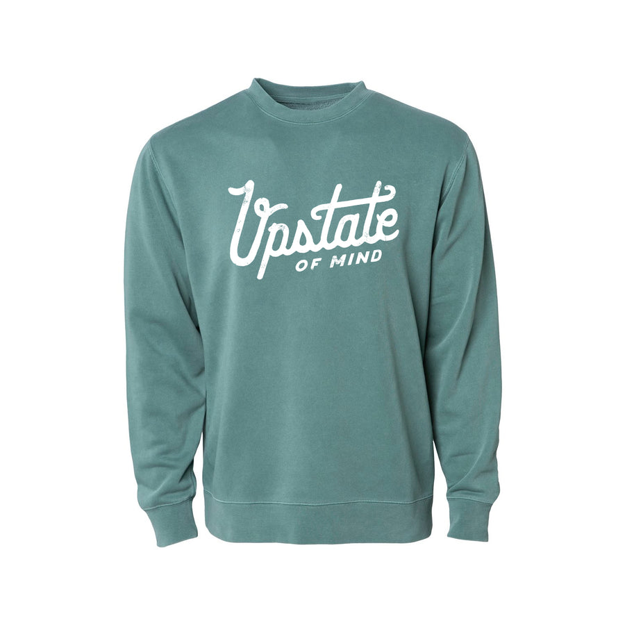 Upstate of Mind - Heritage Script Crewneck - Forest Wash
