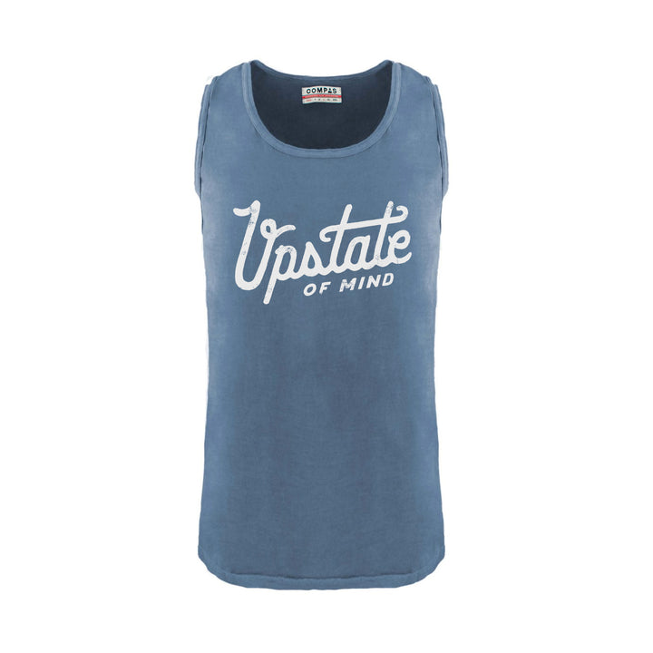 Upstate of Mind Script Navy Tank Top