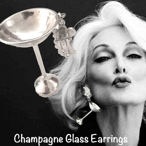 "Sterling Silver Champagne Glass Earrings, with champagne bubbles top. (approx 2-1/4"" h x 1-1/4"" diameter cup) Also available as a Sterling Silver Charm--but don't worry, you won't have to drink alone...it is an ""ice-breaker""."