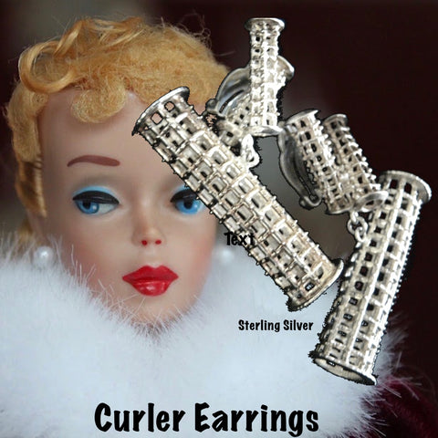 Ready to roll? THESE are! Sterling Silver Curler earrings with tiny roller tops are supported by my signature Sterling Silver clip back-THE most comfortable clip EVER!