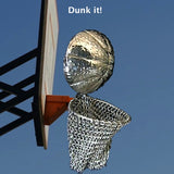 "Can you hear the squeaky sneakers? I'm waiting for a call from the NBA on this realistic piece... the perpetually, perfectly poised shot... as a pin. Complete with the fabulous Whiting Davis chain-mail mesh!  Sterling Silver Basketball and Whiting and Davis Sterling Mesh Hoop! Available as a Pin or Pendant. Chains sold separately.  3"" by 1-1/4""by1/2"" approximately. Made in the USA. Hand signed."