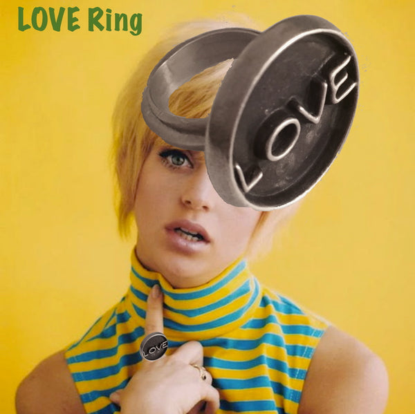 "This beautiful LOVE ring--sizes 5-10 for either men or women, boys or girls--hand oxidized --with ""love"". 1"" in diameter, approximately. Hand-signed."