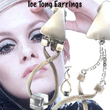 "Sterling Silver Ice Tong Earrings with Lucite Ice Cubes. Ice tongs approximately 2''x 1"" . Chain approximately 1"" long. Triangle tops are 3/4"" approximately. Hand Made in the USA. and hand signed."