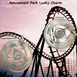 "Remember those old machines at the amusement parks where you could get these in aluminum and engrave them with your boyfriend's name? Well, here's the ""Sterling"" version and you can take a trip down memory lane and have it engraved with a special message to someone meaningful to you. 1-1/4"" diameter. Lucky Charm comes with black leather cord. Feeling LUCKY, or WANT to feel lucky? In these challenging economic times, the term ""A wish and a prayer"" take on more significance and I just love the optimism which"