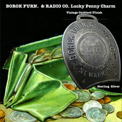 "I absolutely love the fact that Borok sold a combination of furniture and radios! I'm sure it had wooden floors and probably a Chiclet machine somewhere and I feel lucky just knowing it existed.  1-3/8"" x 1-6/8"" approximately. Made in the USA, as always. Hand signed.  Sterling Silver Borok 1937 Lucky Penny Charm comes with black leather cord. Collect a handful of my lucky charms and stagger the length of chains, coupled with leather cords and ribbons and create your own fable!  Take a nostalgic walk with"