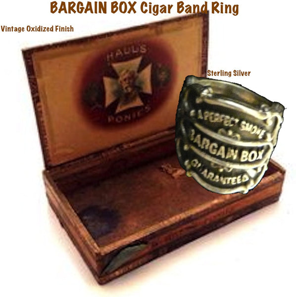 Vintage antique cuban cigar bands come to life as Sterling Silver Cigar Band Rings in 3D fashion statements. Shown here on an antique Cuban cigar box. Ready for any cigar aficionado or collector.