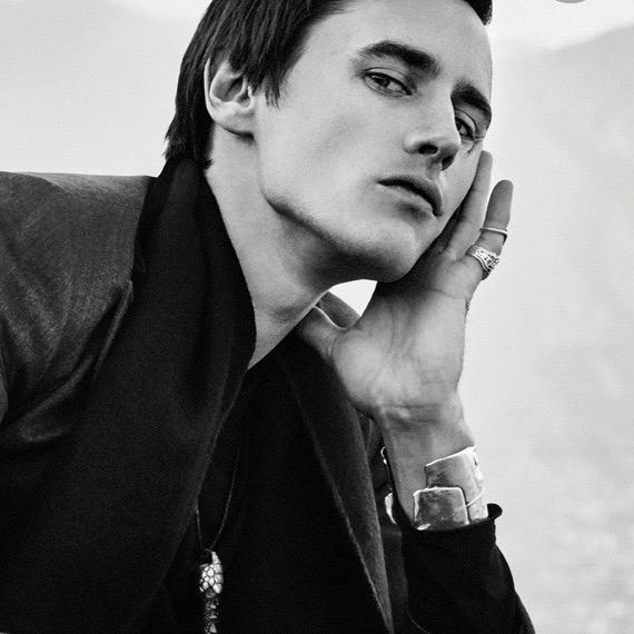 "Photo by Emilie Elizabeth for BELLO Magazine. Reeve Carney in Fablesintheair.com #Sterlingsilver Scissorhand Cuff and ""Mild Havana"" Cigar Band Ring."
