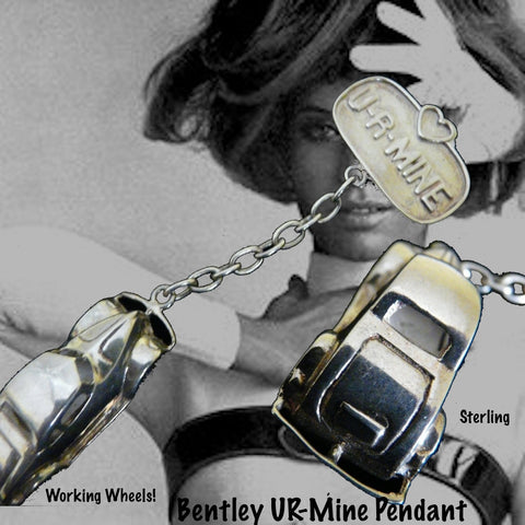 Get out your mini-chauffeur's hat and take this Antique Bentley for a spin! Has actual movable sterling wheels and a lot of CLASS!  Sterling Silver Bentley Charm comes with black leather cord. Attention Vintage Car Collectors! This large-scale Vintage Bentley car charm is sure to fit in your Sterling Silver Jewelry garage!