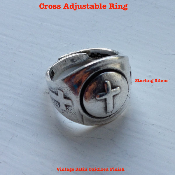 "Sterling Silver Cross ""Gumball"" Ring"