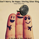 "Fablesintheair.com's Don't Worry Be Happy Sterling Silver Ring.Hey, this could quickly become the slogan for the current state of our beautiful planet--Meher Baba knew the secret to a life well-lived, pre-Serenity Prayer.Get ready for a lot of smiles in your direction when they see this ring.  Approximately 1"" diameter adjustable Sterling Silver Don't Worry Be Happy Gumball Ring. Made in America. Hand signed.  Don't Worry. Be Happy."