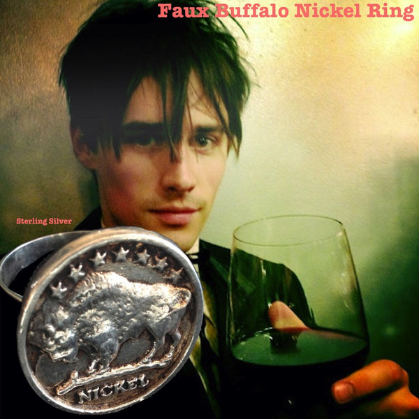 "On Reeve Carney, Showtime's Penny Dreadful's Dorian Gray, RIff Raff in the new Fox Rocky Horror Picture Show, the bad boyfriend in Taylor Swift's I Knew You Were Trouble Video, Broadway's Spider-Man--wearing Fablesintheair's Sterling Silver Faux Buffalo Gumball Ring. Approximately 1"" in diameter. Made in the USA. Hand signed. Worth more than a plug nickel."
