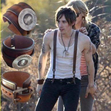 Reeve Carney and Taylor Swift in Fablesintheair.com Times Square Hotel Lucky Penny Charm Leather Cuff.