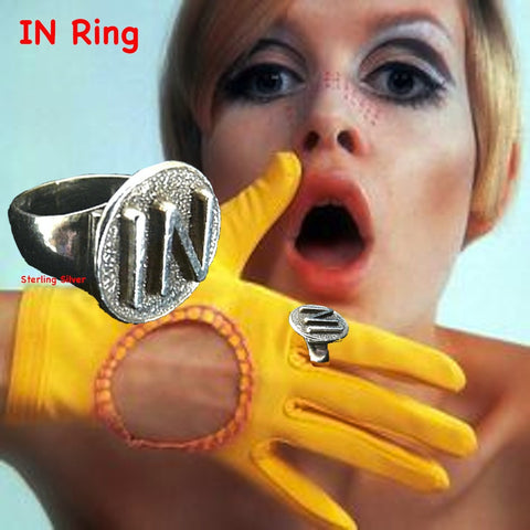 "The doctor is ""IN"" and so are YOU!  Groovy Sterling Silver Ring with raised letters ""IN"". Declaring your presence, your value and your sense of humor!  1"" approximately. Hand made in the USA. Hand Signed.  Sterling Silver IN Signet Ring. Because we are all worth it."