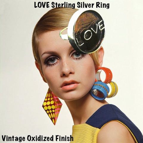 Fablesintheair's Sterling Silver LOVE Gumball Ring, Shown here on Twiggy. Because Love is all there is.