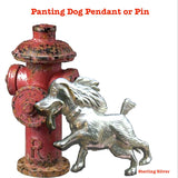 """Man's (woman or child's)  best friend"" needs his water bowl. OR, maybe he/she's just happy to see YOU! This puppy dog has found 3 of his favorite things on his walk: a fire hydrant, lamp post and old firetruck! Available as a pendant or brooch. In either Shiny with oxidized details or my Satin Vintage Oxidized Finish, or in  Yellow or Pink Gold Vermeil! By Fablesintheair. Fables by Marti Heil. Sterling Silver Whimsical Jewelry. Made in the USA."