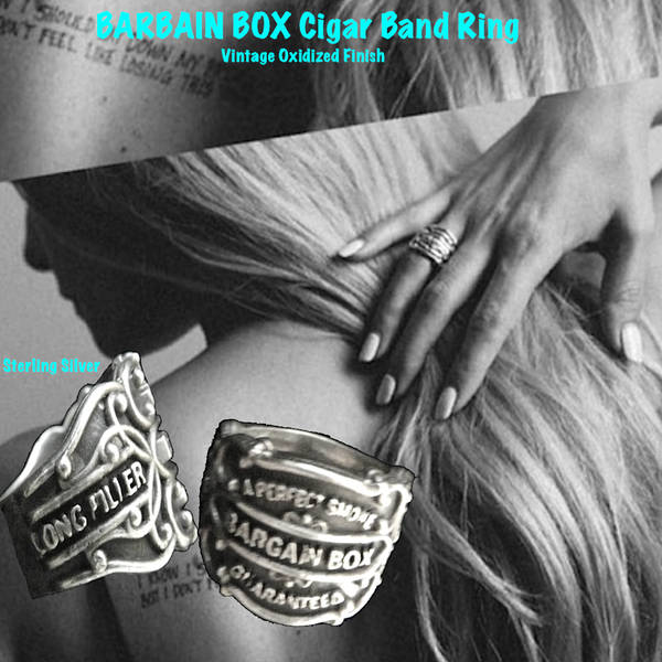 "Vintage antique cuban cigar bands come to life as Sterling Silver Cigar Band Rings in 3D fashion statements. Shown here on talented musician/composer/recording artist, Paris Carney. O'Neill is her new musical project.And she just opened for Reeve Carney at his new ""Truth"" solo album record release."