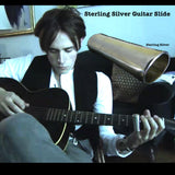 I designed this slide specifically for my son, Reeve Carney. Since Sterling Silver is softer than brass, the usual metal used for guitar slides, it alters the tone uniquely and Reeve responded to that and it quickly became his favorite and only slide