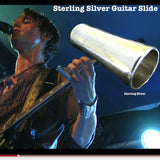 I designed this slide specifically for my son, Reeve Carney. Since Sterling Silver is softer than brass, the usual metal used for guitar slides, it alters the tone uniquely and Reeve responded to that and it quickly became his favorite and only slide.