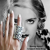 "Bette Davis in Seeing Spots Leopard Ring.Meow! The PURRRRFECT Cocktail Ring! Sterling Silver ""Seeing Spots"" Faux Leopard Skin Ring. Made in the USA. Hand signed. 1-1/2"" x 1"" approximately."